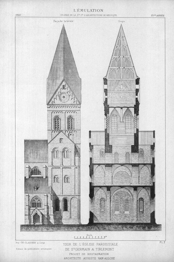 Sint-Germanuskerk met stenen torenspits